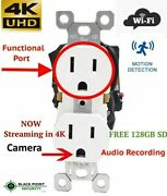 4k Uhd Wall Hardwired Wifi Functional Receptacle Outlet Hidden Spy Camera Audio