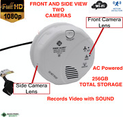 Dual Two Full Hd 1080p Spy Hidden Security Wifi Smoke Detector Camera With Audio