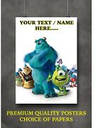 Monsters Inc Personalised Custom Art Large Poster Print Gift A0 A1 A2 A3 A4 Maxi