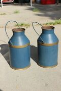 Pair 2 Antique Blue Cream Milk Pail Can And Bail Handles Nice Home Decoration