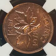 Canada Pair 1978 1 Cent Errors - Both Rotated Approx 90 Degrees - Ngc Ms65