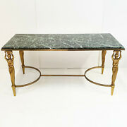Coffee Table Neo-classical Home Jansen 1970 Vintage In Marble And Brass Solid
