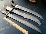 Custom Hand Made Damascus Steel Antique Hunting Knives Lot Of 3 Rj 06