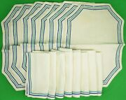 Set Of 8 Placemats And 8 Linen Dinner Napkins C1940s W/ Green/ Blue Borders