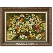 Yilong 2.9and039x2and039 Handwoven Wool Silk Flower Tapestry Exquisite Indoor Rug Gt002