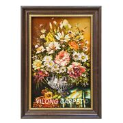 Yilong 1.4and039x2and039 Handwoven Wool Silk Carpet Flower Vase Oriental Tapestry Gt009
