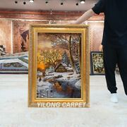 Yilong 1.8and039x2.7and039 Handknotted Wool Silk Carpet Winter Snow Scenery Tapestry Gt012