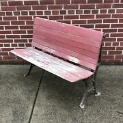 Antique 1800and039s Folding Schoolhouse Bench With Ornate Cast Iron Legs Thomas Kane
