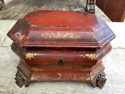 Chinese Export Gilt Red Chinoiserie Lacquer Tea Caddy / Box