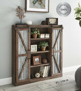 Farmhouse Storage Accent Cabinet Barn Sliding Door Display Rustic Brown Country