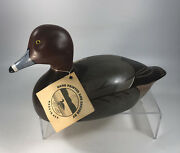 Loon Lake Redhead Duck Solid Wood Decoy Handcarved Painted Signed 13andrdquo Nice