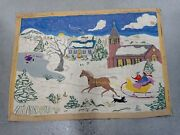 2and039 X 3and039 Vintage Hand Tufted Children Pulled Sled Hooked Rug Wool Horatio Mckay