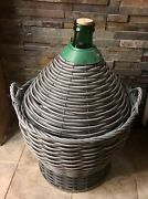 Vintage Italian Green Glass Demijohn Carboy For Home-brewing Or Wine Making