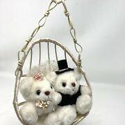 """Vintage Russ """"just Married"""" Plush White Bears In Hanging Wicker Egg Chair W/tag"""