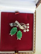 Jade And Diamond 18ct White Gold Brooch With Valuation 4300