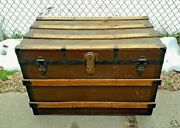 Stunning Antique Wood Flat Top Steamer Trunk Storage Treasure Chestcoffee Table
