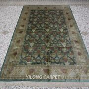 Yilong 5and039x8and039 Handknotted Silk Carpet All Over Home Decor Interior Area Rug 102a