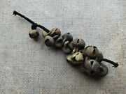 1800's Antique Old Brass Hand Forged Horse And Cow Leg Tying Ornament Bells Belt