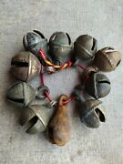 1800's Antique Brass Hand Forged Horse And Cow Leg Tying 10 Primitive Bells Belt