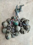 Antique Primitive Brass Hand Forged 10 Piece Cow And Horse Leg Tying Bells Belt