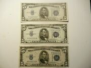 Federal Reserve 3- Notes 5 1934 Candd Silver Certificate / Us Currency 1934
