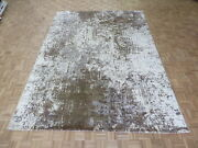 9 X 12and0392 Hand Knotted Brown Gray Modern Abstract Oriental Rug With Silk G9137