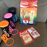 Coca Cola Hodgepodge Set - Doll, Water Bottles, Coasters, Magnets. Free Shipping