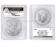2021 -w 1 Silver Eagle Type 1 Pcgs Ms70 First Day Of Issue Fdoi Mercanti Signed