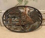 Authentic Vintage French Oval Cast Iron Trivet With Crowing Rooster Design