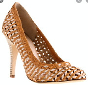 J. Crew Mona Dream Weaver Woven Leather Heels Womens 6.5 Tan Made In Italy
