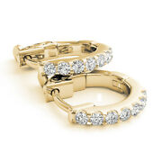 1.40 Ct Natural Diamond Earrings Solid 14k Yellow Gold Hoop Special Sale