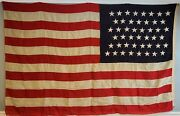 Antique 46-star American Flag 1907-1912 Sewn Stars And Stripes 5and039 By 8and039