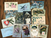 Vintage New Years Greetings Postcards - Posted 1907 To 1910 - Lot Of 14