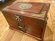 George Zee Rosewood Jewelry Box Silk Lined Three Drawer With Lock