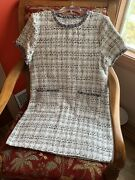 Black White With Silver Tread Tweed Dress See Measurements For Fit