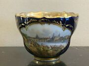 Antique Meissen Dresden Late 1800and039s Topographical Cobalt Blue Cup