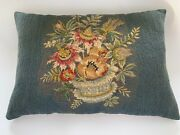 Vintage Crewel Embroidery Toss Pillow. 17 1/2 X 12.