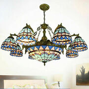Baroque Style Chandelier Ceiling Light Stained Glass Mulit Light Lamp Fixture