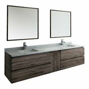 Fresca Formosa 84 Wall Hung Double Sinks Bathroom Vanity With Mirrors In Brown