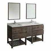 Fresca Formosa 72 Wood Bathroom Vanity With Open Bottom And Mirrors In Brown