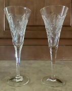 """Waterford """"the Millennium Collection"""" Pair Of 2 Crystal Happiness Flutes 9.25"""""""
