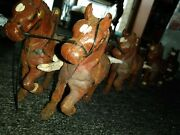 Antique Cast Iron Horse Team 8 Brown 🐎 Wagon Hitch 26 Clydesdale Harness 🍺