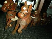 Antique Cast Iron 8 Horse Team 🐎 Wagon Hitch 26 Clydesdale Metal Stallions Big