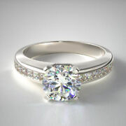 Solid 14k White Gold Solitaire Ring Real 0.98 Ct Diamond Engagement Band 6 7 8 9