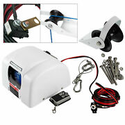 White Saltwater Electric Anchor Winch Set Boat Winch W/ Remote Control 25lbs