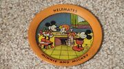 Antique Ohio Art Minnie And Mickey Tin Litho Toy Tea Set Plate Early Nice One