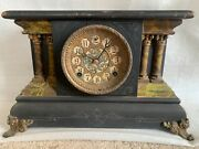 Antique Stunning Sessions Mantle Clock 8 Day 1/2 Strike Cathedral Gong Works