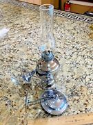 Vintage Mid Sized Perko Gimbal Mount Chrome Oil Lamp W/smoke Bell 12 Tall /2