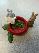 Schleich Animal Figure Baby Rabbits Bunnies With Food Bowl