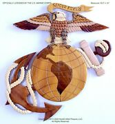 Marine Corps Eagle Globe And Anchor Handcrafted Wood Art Plaque